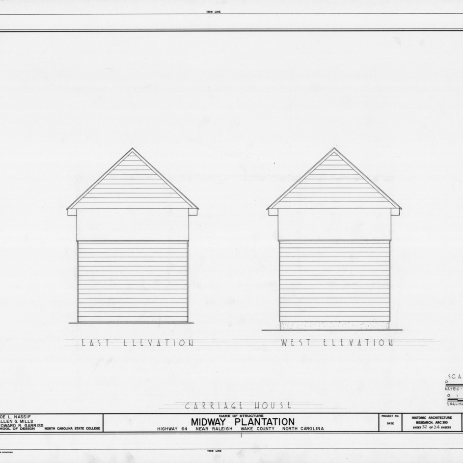 East and west elevations of carriage house, Midway Plantation, Wake County, North Carolina