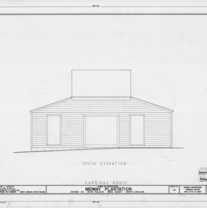 South elevation of carriage house, Midway Plantation, Wake County, North Carolina