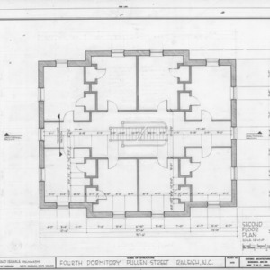 Second floor plan, Fourth Dormitory, Raleigh, North Carolina