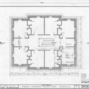 Third floor plan, Fourth Dormitory, Raleigh, North Carolina