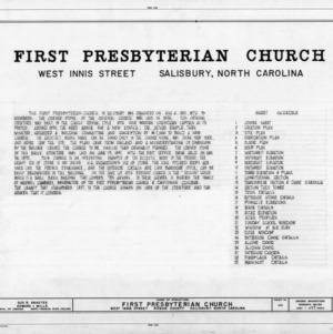 Title page with notes, First Presbyterian Church, Salisbury, North Carolina