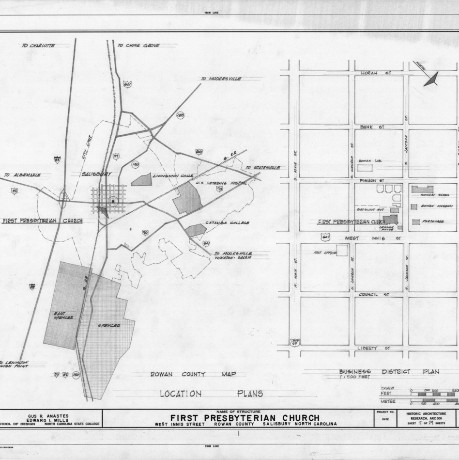 Location map and site plan, First Presbyterian Church, Salisbury, North Carolina