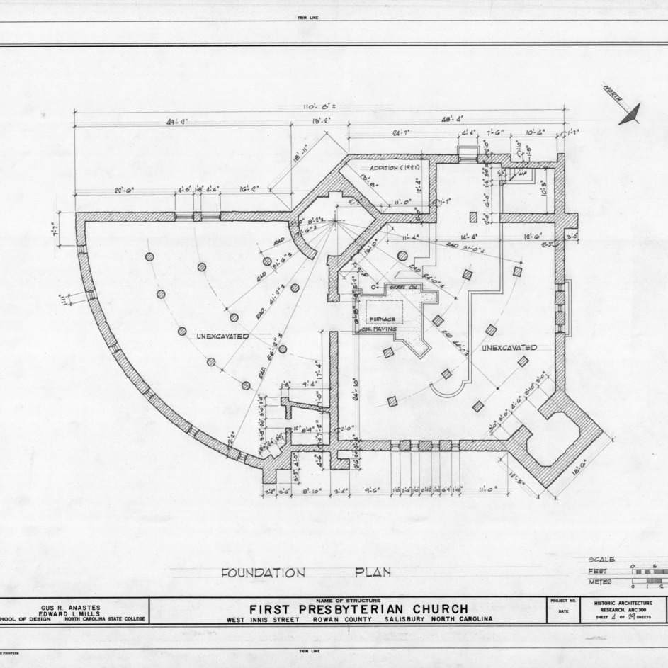 Foundation plan, First Presbyterian Church, Salisbury, North Carolina