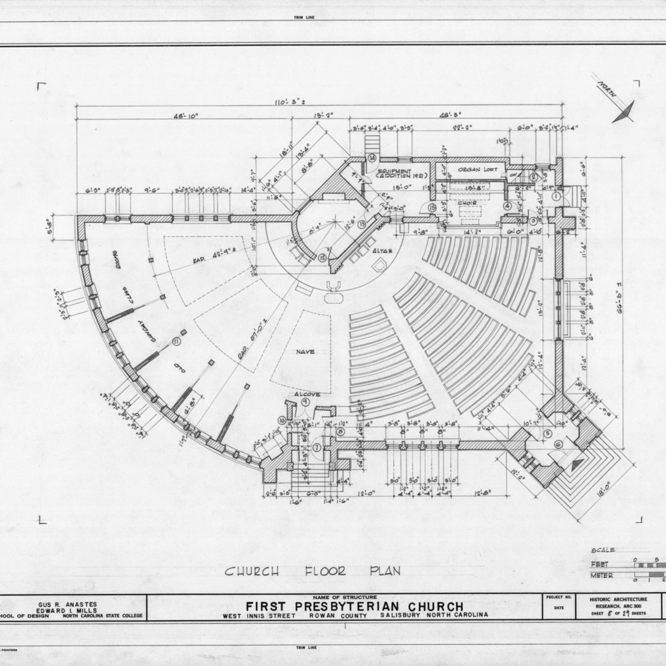Floor plan, First Presbyterian Church, Salisbury, North Carolina