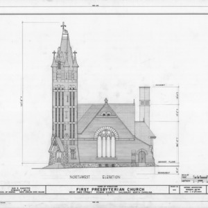 Northwest elevation, First Presbyterian Church, Salisbury, North Carolina