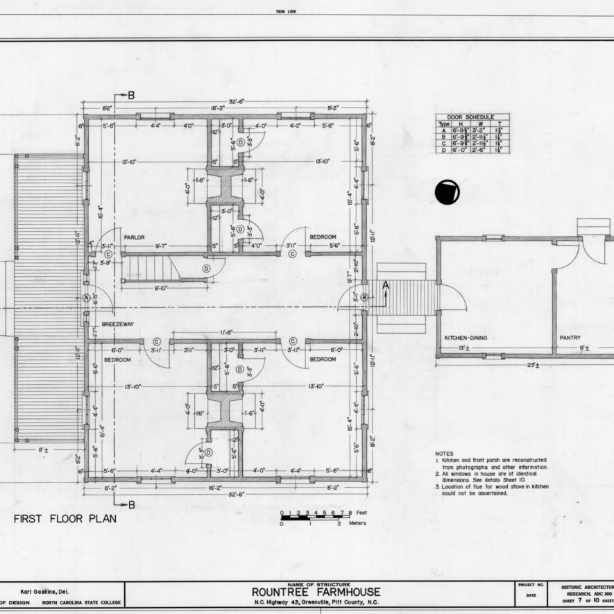 First floor plan, Rountree Farmhouse, Greenville, North Carolina