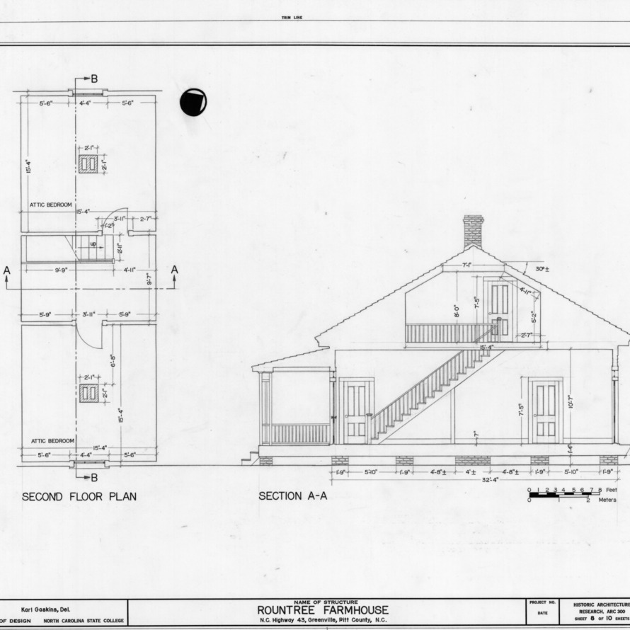 Second floor plan and cross section, Rountree Farmhouse, Greenville, North Carolina
