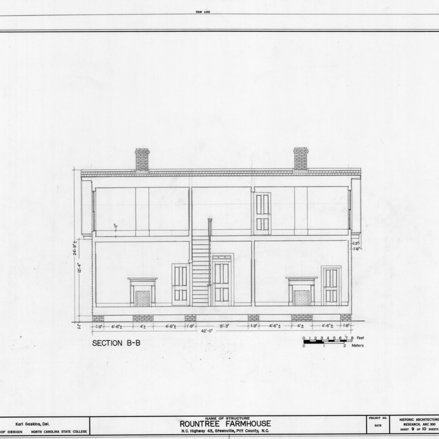 Longitudinal section, Rountree Farmhouse, Greenville, North Carolina