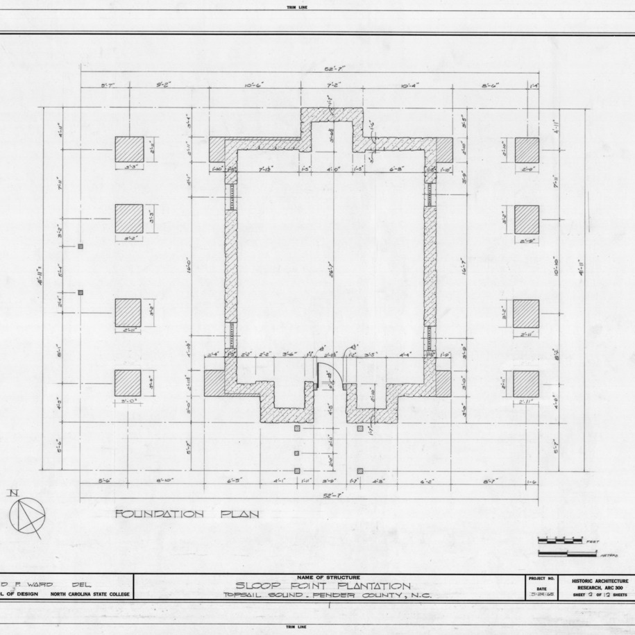 Foundation plan, Sloop Point, Pender County, North Carolina