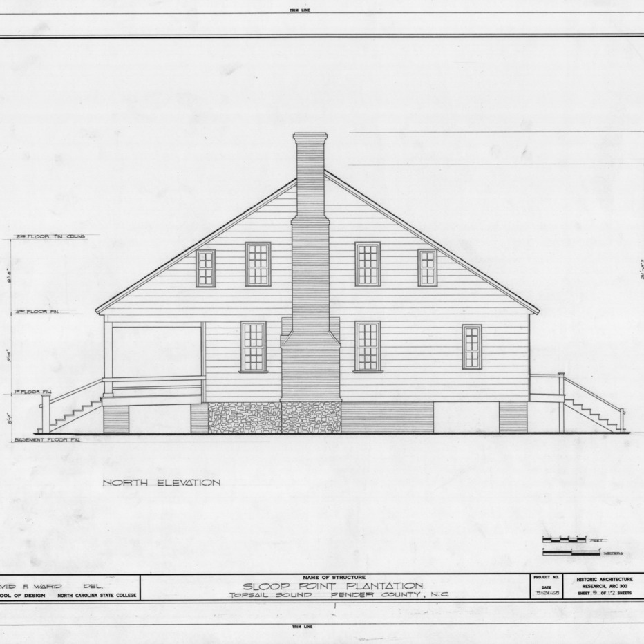 North elevation, Sloop Point, Pender County, North Carolina