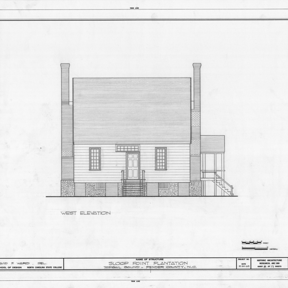 West elevation, Sloop Point, Pender County, North Carolina