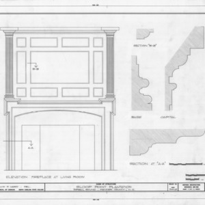 Fireplace and column details, Sloop Point, Pender County, North Carolina