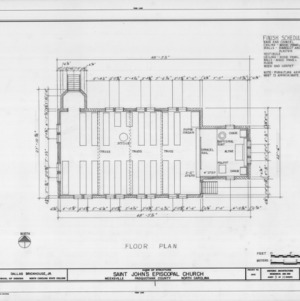 Floor plan and schedule, St. John's Episcopal Church, Pasquotank County, North Carolina