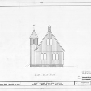 West elevation, St. John's Episcopal Church, Pasquotank County, North Carolina