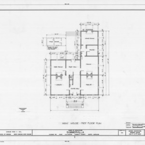 First floor plan, Summervilla, Harnett County, North Carolina