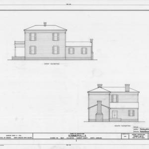 West and south elevations, Summervilla, Harnett County, North Carolina