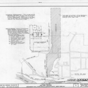 Site plan and notes, Julian House, Franklinville, North Carolina