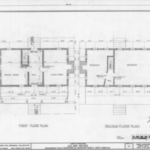First and second floor plans, Julian House, Franklinville, North Carolina