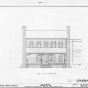 South elevation, Julian House, Franklinville, North Carolina