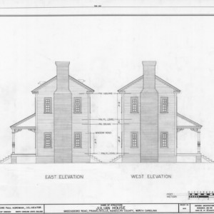 East and west elevations, Julian House, Franklinville, North Carolina