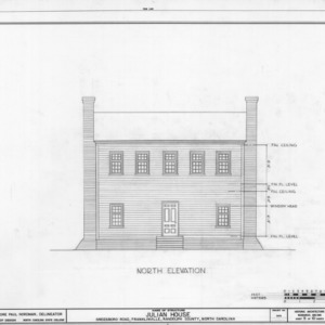 North elevation, Julian House, Franklinville, North Carolina