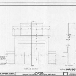 Fireplace details, Julian House, Franklinville, North Carolina