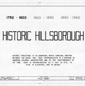 Title page, historic city of Hillsborough, Hillsborough, North Carolina