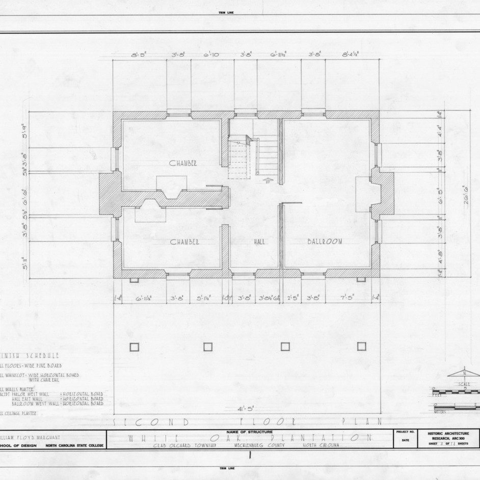 Second floor plan, White Oak, Mecklenburg County, North Carolina
