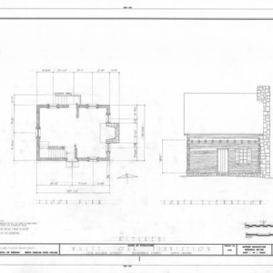 Kitchen floor plan and south elevation, White Oak, Mecklenburg County, North Carolina