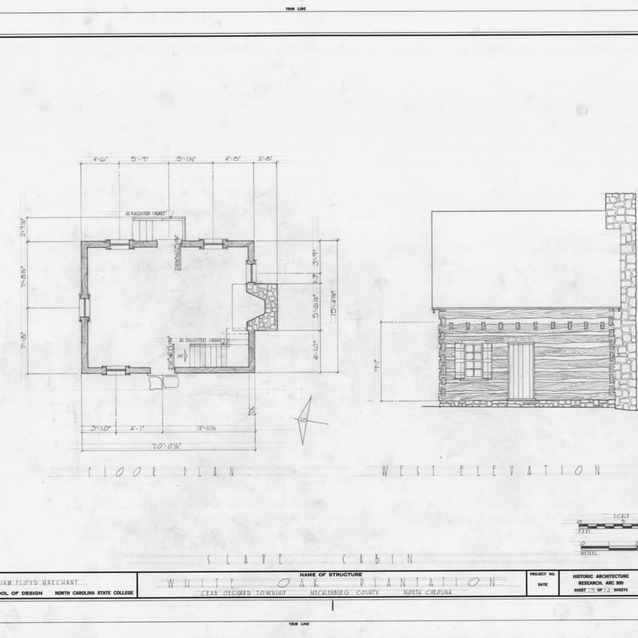 Slave quarters floor plan and west elevation, White Oak, Mecklenburg County, North Carolina