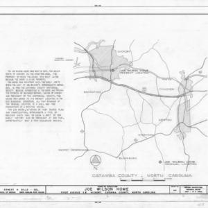 Notes and location map, Joe Wilson House, Hickory, North Carolina