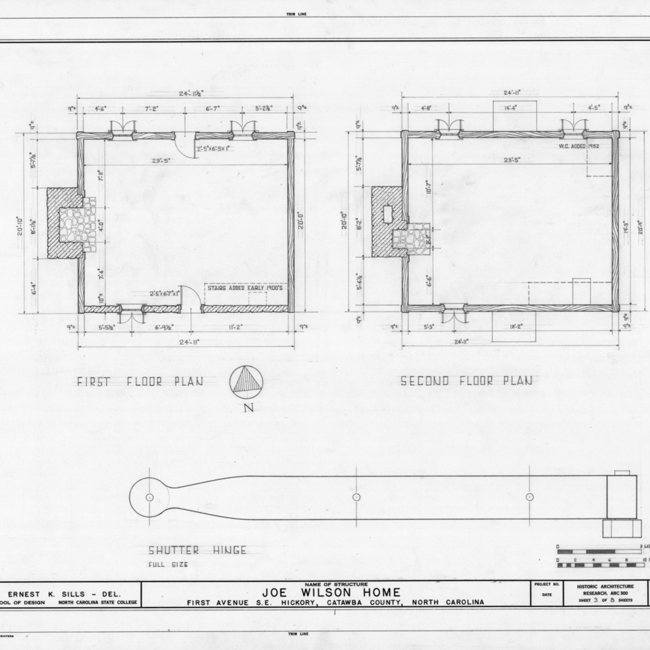 Floor plans and shutter hinge detail, Joe Wilson House, Hickory, North Carolina