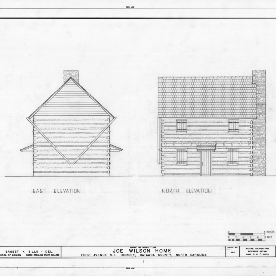 East and north elevations, Joe Wilson House, Hickory, North Carolina