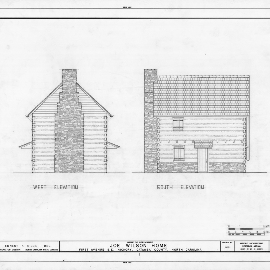West and south elevations, Joe Wilson House, Hickory, North Carolina
