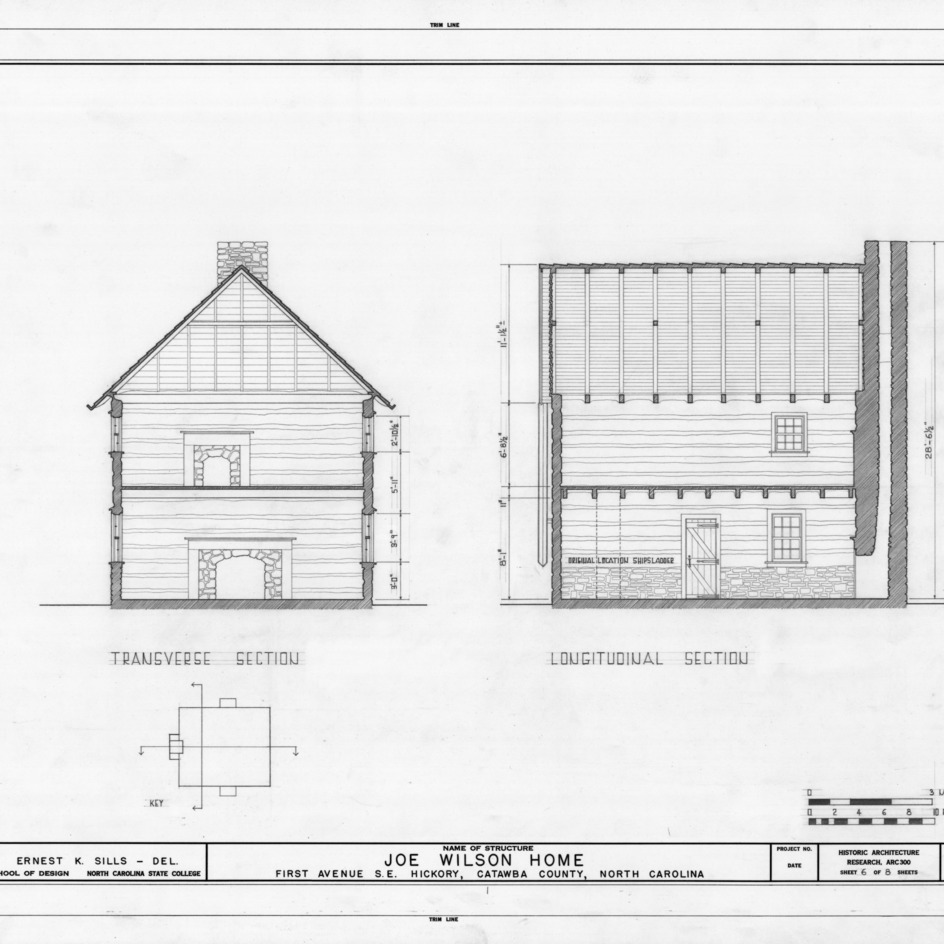 Cross and longitudinal sections, Joe Wilson House, Hickory, North Carolina