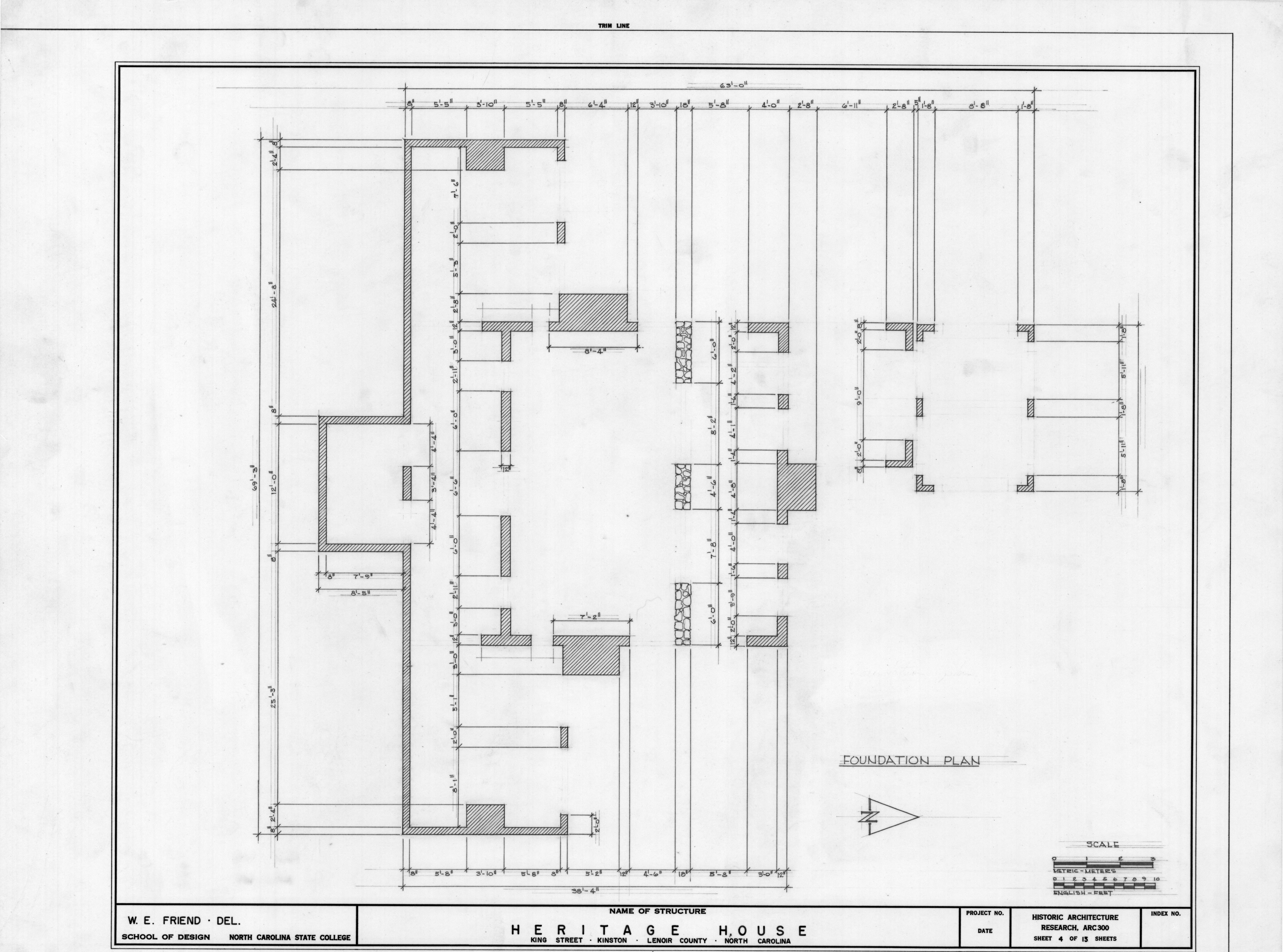 Foundation plan peebles house kinston north carolina for Home foundation plan