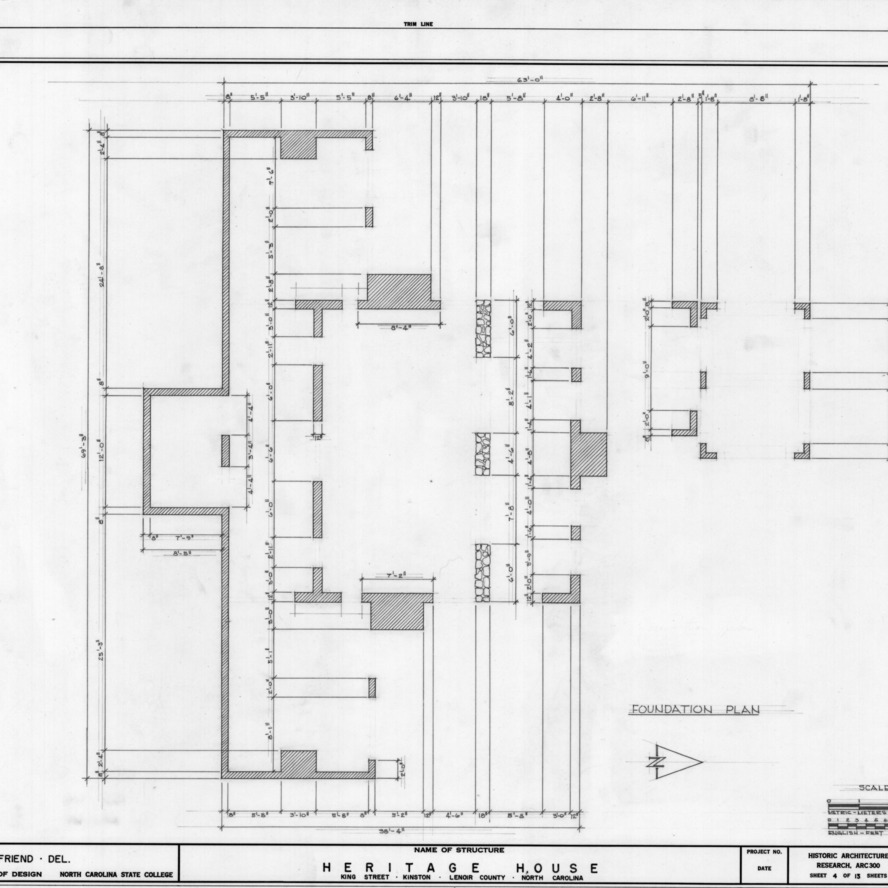 Foundation plan, Peebles House, Kinston, North Carolina