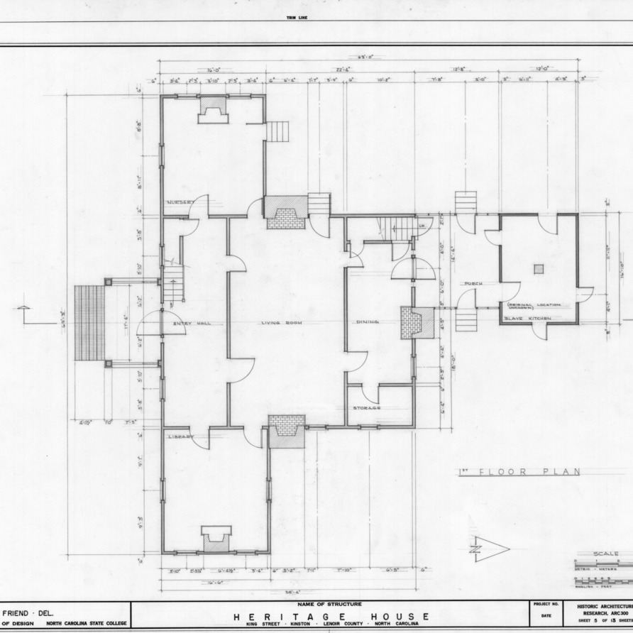 First floor plan, Peebles House, Kinston, North Carolina