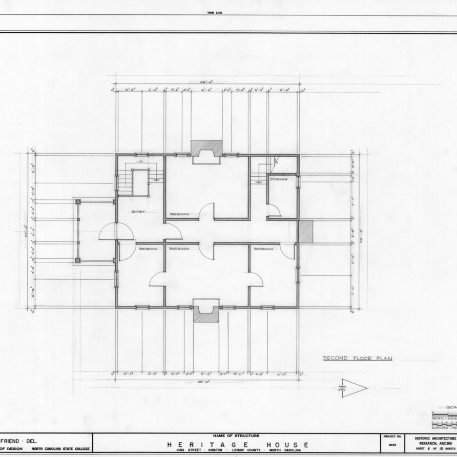 Second floor plan, Peebles House, Kinston, North Carolina