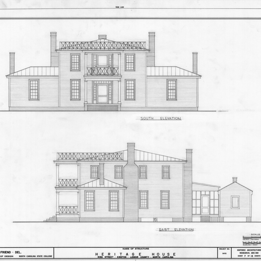 South and east elevations, Peebles House, Kinston, North Carolina