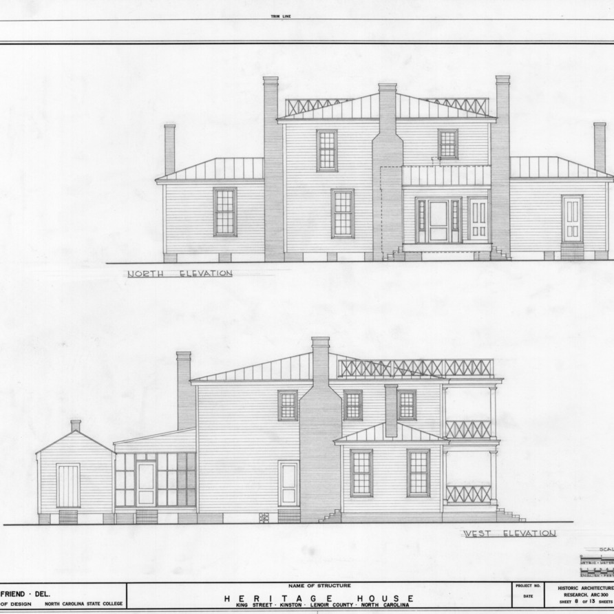 North and west elevations, Peebles House, Kinston, North Carolina