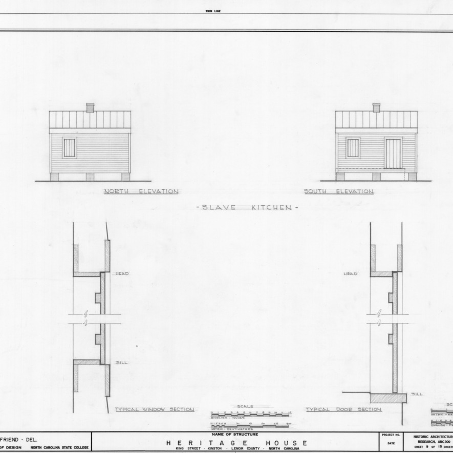 Kitchen elevations and details, Peebles House, Kinston, North Carolina