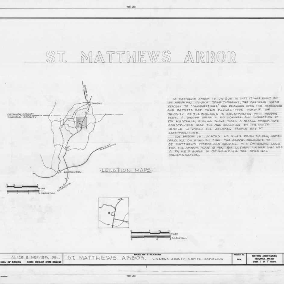 Title page with location map and notes, St. Matthews Reformed Church and Arbor, Lincoln County, North Carolina