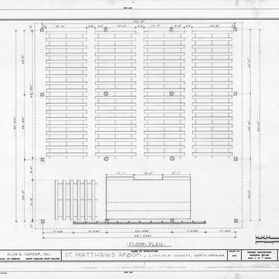 Floor plan, St. Matthews Reformed Church and Arbor, Lincoln County, North Carolina