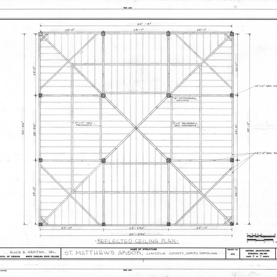 Ceiling plan, St. Matthews Reformed Church and Arbor, Lincoln County, North Carolina
