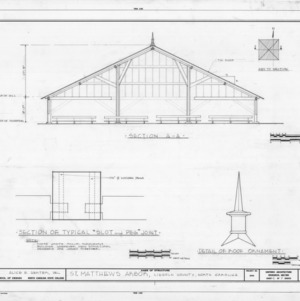 Section and details, St. Matthews Reformed Church and Arbor, Lincoln County, North Carolina
