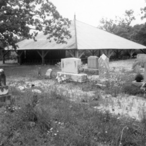 View with cemetery, St. Matthews Reformed Church and Arbor, Lincoln County, North Carolina