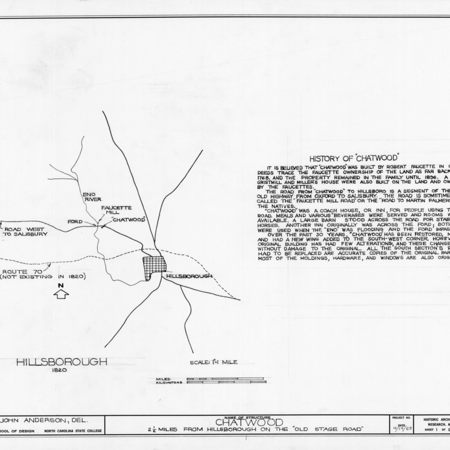 1820 location map and notes, Chatwood, Hillsborough, North Carolina