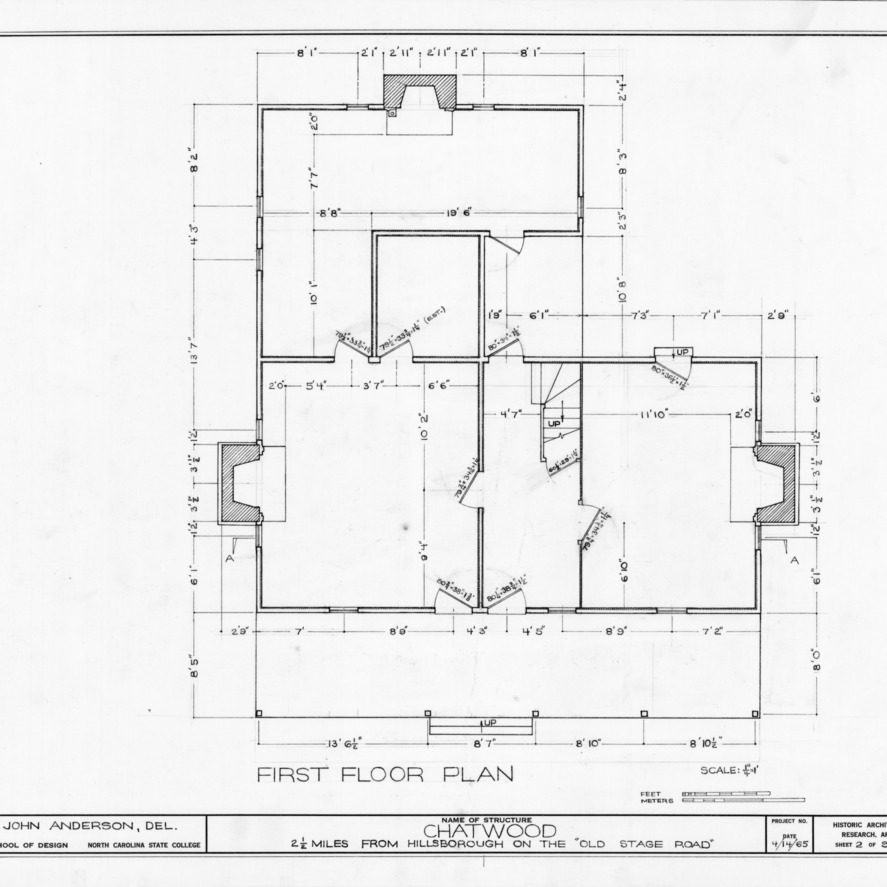 First floor plan, Chatwood, Hillsborough, North Carolina