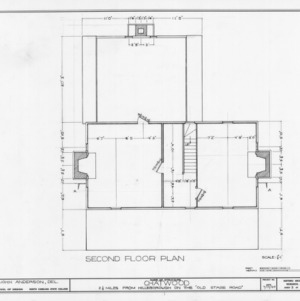 Second floor plan, Chatwood, Hillsborough, North Carolina